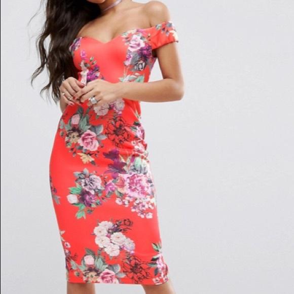 1d01085f11fe ASOS Dresses   Sweetheart Bardot Bright Floral Midi Dress 6   Poshmark